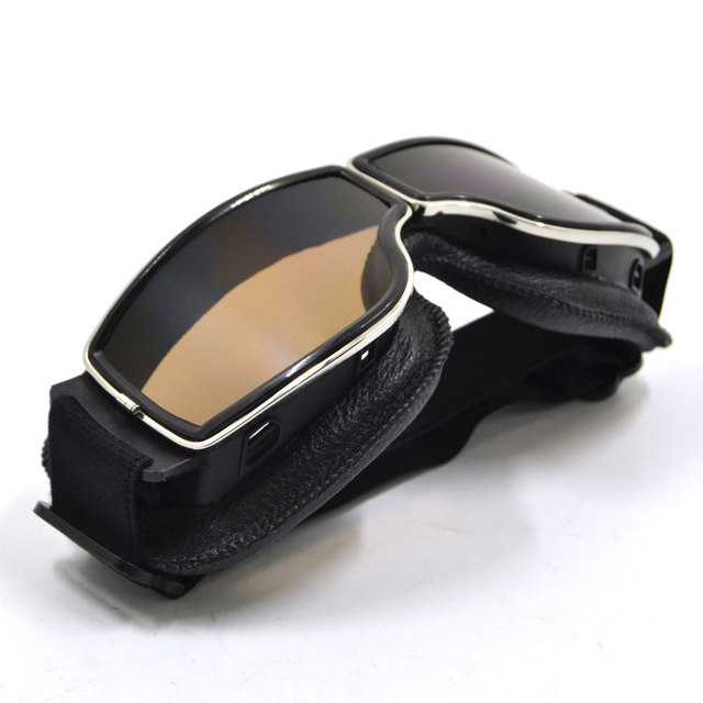 Vintage Silver Frame Motorcycle Goggles