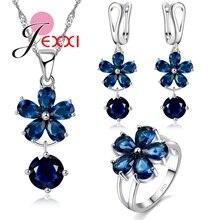 Charming 925 Sterling Silver Necklace Earrings Ring Women Jewelry Sets Dark Blue Cubic Zirconia Flower Pendant