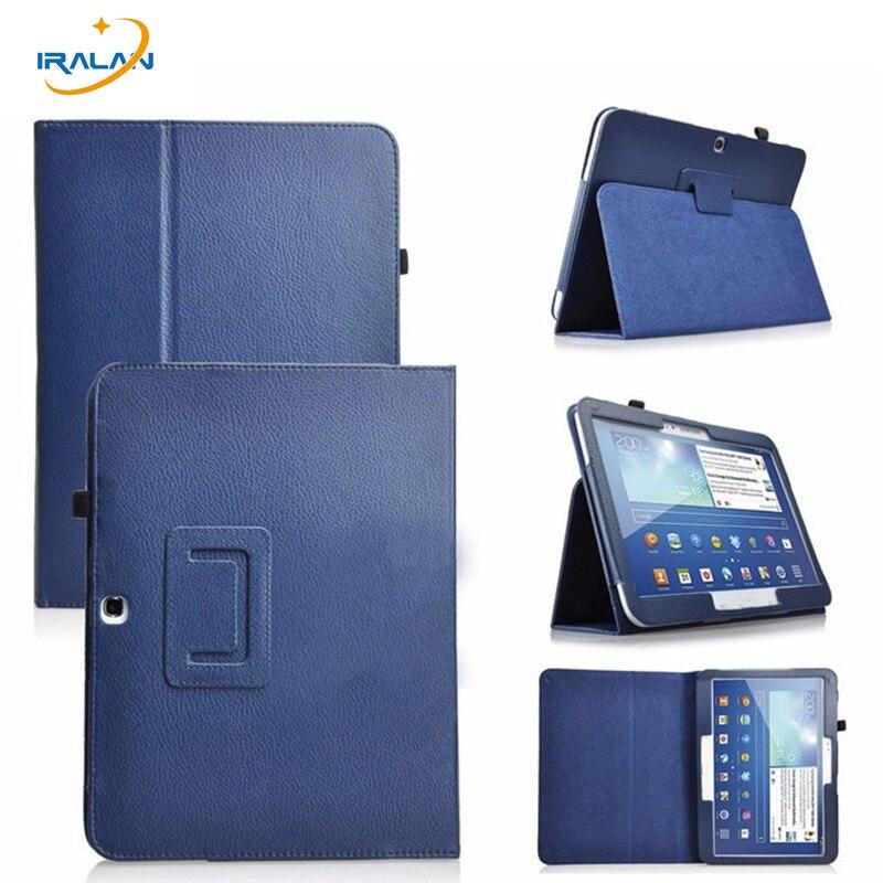 Nouveau modèle de Litchi 2-fold PU Étui En Cuir pour Samsung Galaxy Tab 3 10.1 P5200 P5210 P5220 Tablet filp Housse De Protection + film + stylo