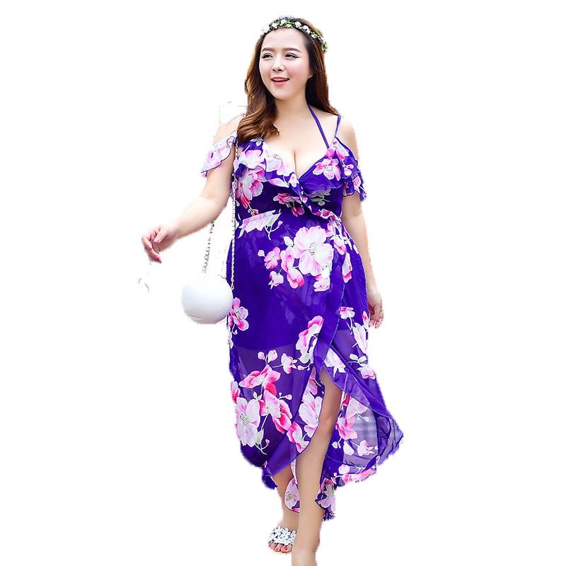 High quality High Waist Floral Sexy Women Bikini Swimwear 3 in 1 Set Underwire Plus size Swimsuit Long Beach dress Bathing suit цены онлайн