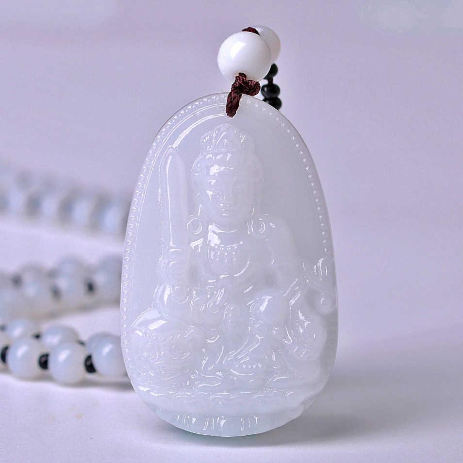 คุณภาพสูงหยก Reiki Healing คริสตัลพระพุทธรูป Lucky สีขาวหยกแกะสลักพระพุทธรูป Lucky Amulet จี้สร้อยคอสำหรับหญิงชาย