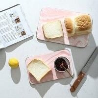 Scandinavian Marble Ceramic Storage Trays Nordic Handmade Golden Rim Bread Dessert Snack Dish Sushi Plate Kitchen Cutting Board