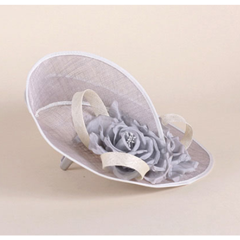 Image 3 - FS Elegant Royal Woman Large Brim Sinamay Wedding Dress Hat Flowers Gray Linen Summer Fedoras Dress Party Kentucky Derby Hats-in Women's Fedoras from Apparel Accessories