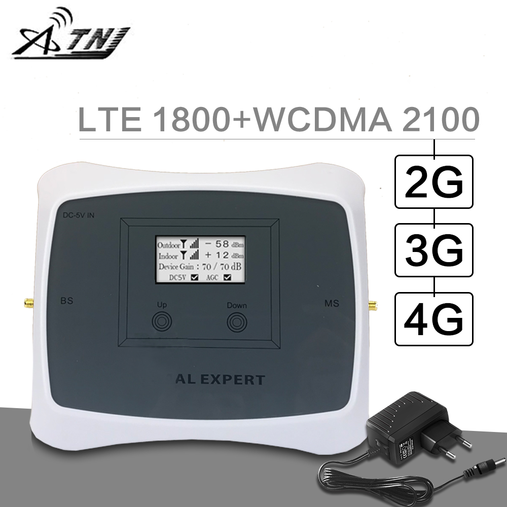 ATNJ 2G 3G 4G Cellular Signal Booster DCS / LTE 1800 WCDMA 2100 MHz 3G 4G Mobile Signal Repeater Amplifier B1 & B3 LCD Display