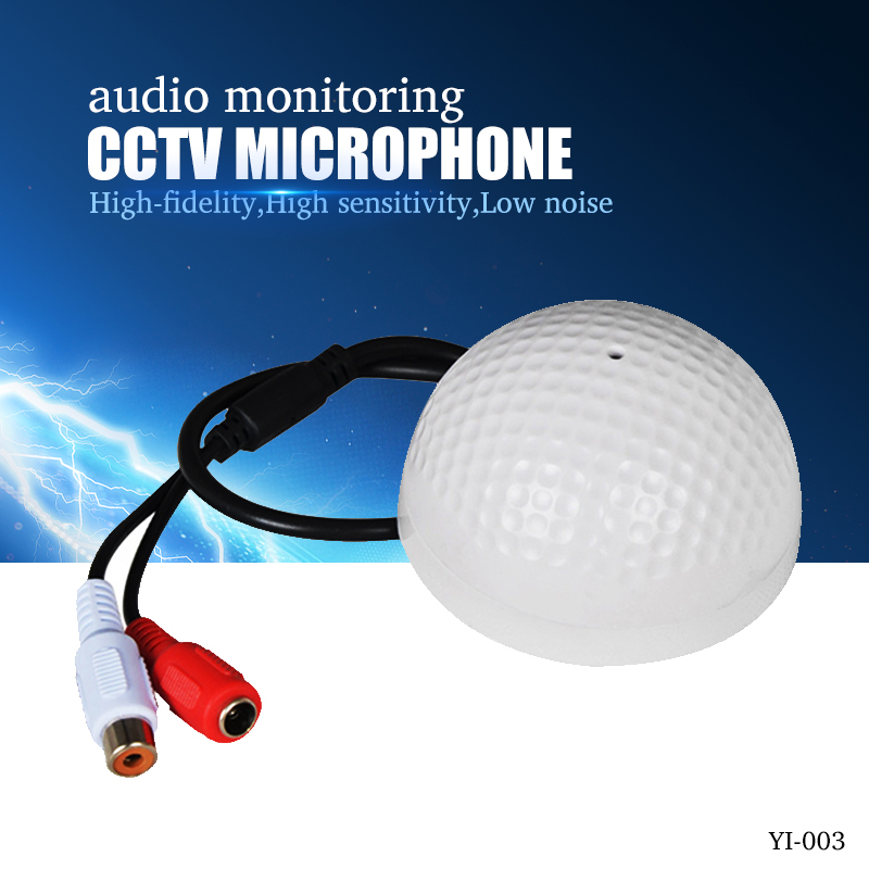 YiiSPO Hot Selling CCTV Microphone Golf Shape audio Pickup Device High Sensitivity DC12V audio Monitoring sound