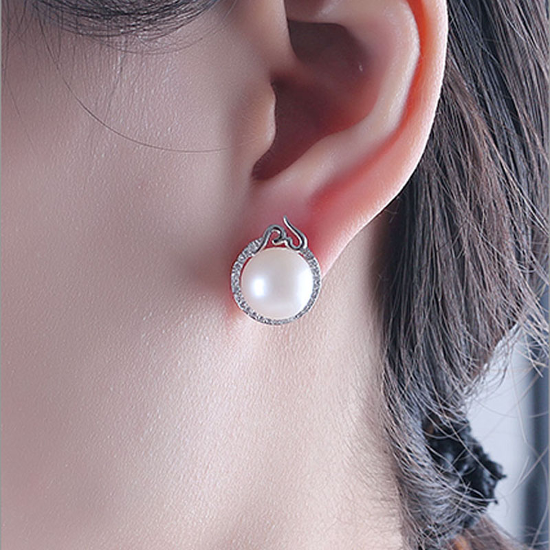 Natural freshwater pearl earrings silver 925 for women white pearl stud earrings mother of pearl jewelry wife birthday gifts in Earrings from Jewelry Accessories