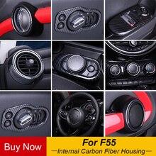 Весь внутренний украшения Реальные углеродного волокна Корпус чехол воздуха на выходе ручка для MINI Cooper F55 аксессуары Тюнинг автомобилей