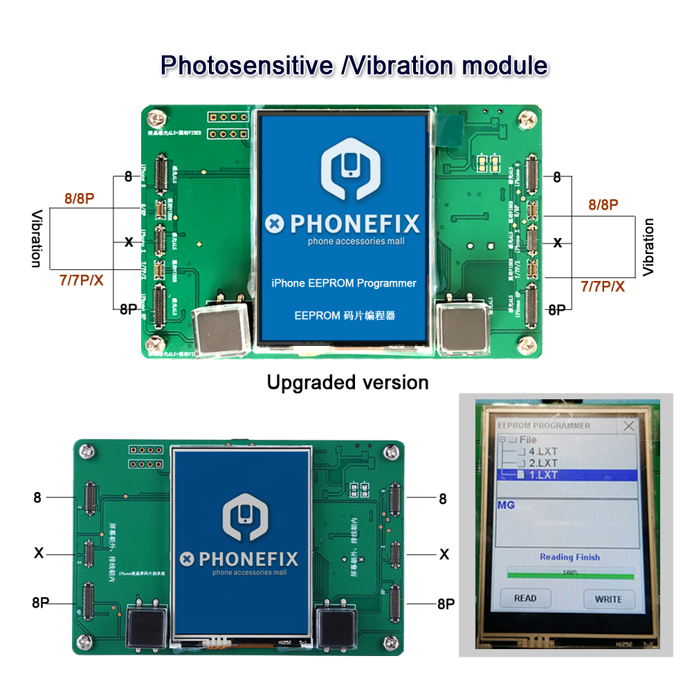 PHONEFIX Newest LCD Screen Photosensitive Data EEPROM IC Vibration Code Read Write Repair Tool for iPhone 8 8P X LCD ReplacementPHONEFIX Newest LCD Screen Photosensitive Data EEPROM IC Vibration Code Read Write Repair Tool for iPhone 8 8P X LCD Replacement