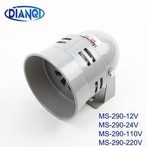 MS-290 12V Dc 24V Dc 110V Ac 220V Ac 110DB Rode Mini Plastic Motor Sirene Industriële alarm Geluid Elektrische Guard Tegen Diefstal(China)
