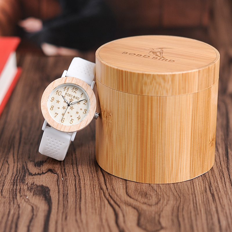BOBO BIRD Luxury Wood Watches Women Fashion Casual Silicone Strap Wrist Watch Lady Quartz Watch Relogio Feminino C-P21