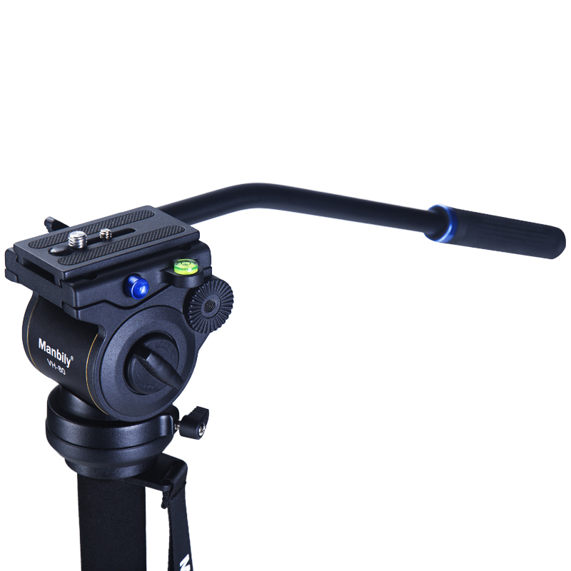 Manbily VH-80 Video Camera Damping Fluid Tripod Head Hydraulic Head Panoramic Head for Slider Monopod Camera Shooting Video Film fluid head rocker arm camera tripod head quick release hydraulic damping panoramic ptz tripod ball head for camera