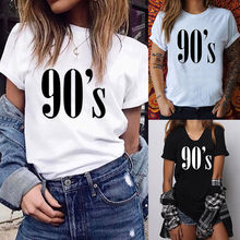 (Ship from US) 90 s Letters Women T shirt Casual Funny tshirts Casual Tee  Top Hipster Tumblr Female T Shirt Harajuku T-Shirts Woman Clothing 5f0d41ca1aae