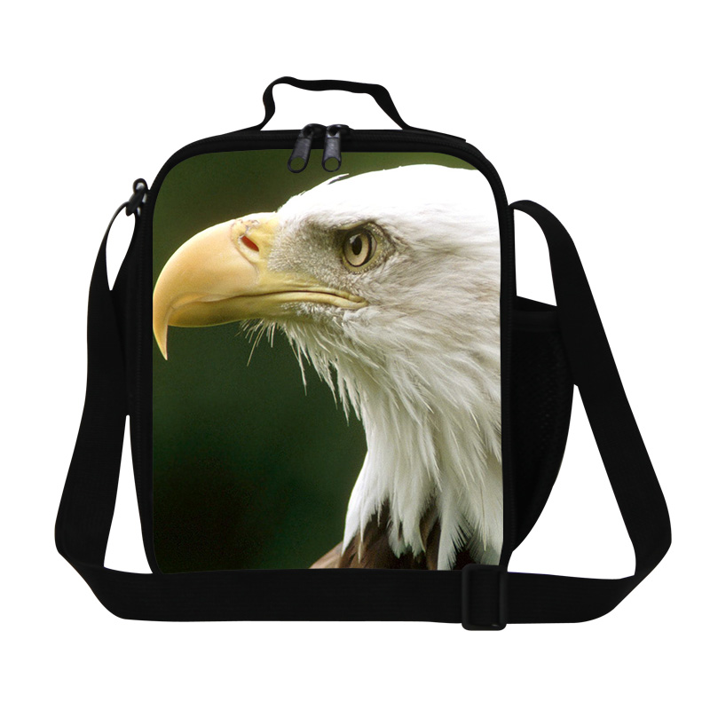 New Design Animal Print Insulated Lunchbag Bald Eagle Children Lunch Bag For Office Kids Travel Thermal Picnic Bag Free Shipping
