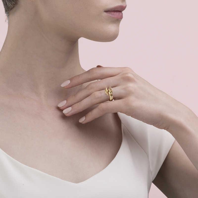 StrollGirl แฟชั่นแท้ 925 เงินสเตอร์ลิงสีทอง Mermaid ขนาดเปิดนิ้วมือแหวนปรับทำให้ผู้หญิง DIY เครื่องประดับ