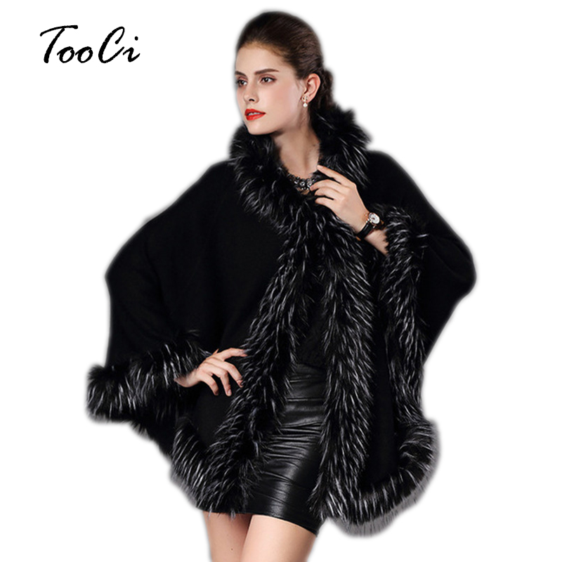 Wool Faux Knitted Quality Cloak Cardigan black Long High Coat Beige Hooded Warm Women's Red Poncho Green pickles Winter Sweater Cape Cashmere navy wine Fur Autumn qOwPdp7w5x