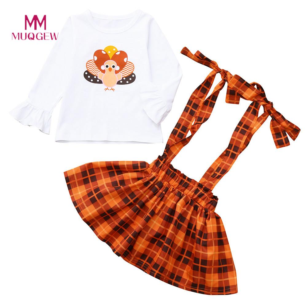 Baby Girl Clothes Hot Sale Kids Clothes Long Sleeve Toddler Baby Thanksgiving Day Turkey Print Tops+Overalls Plaid Skirt Outfit