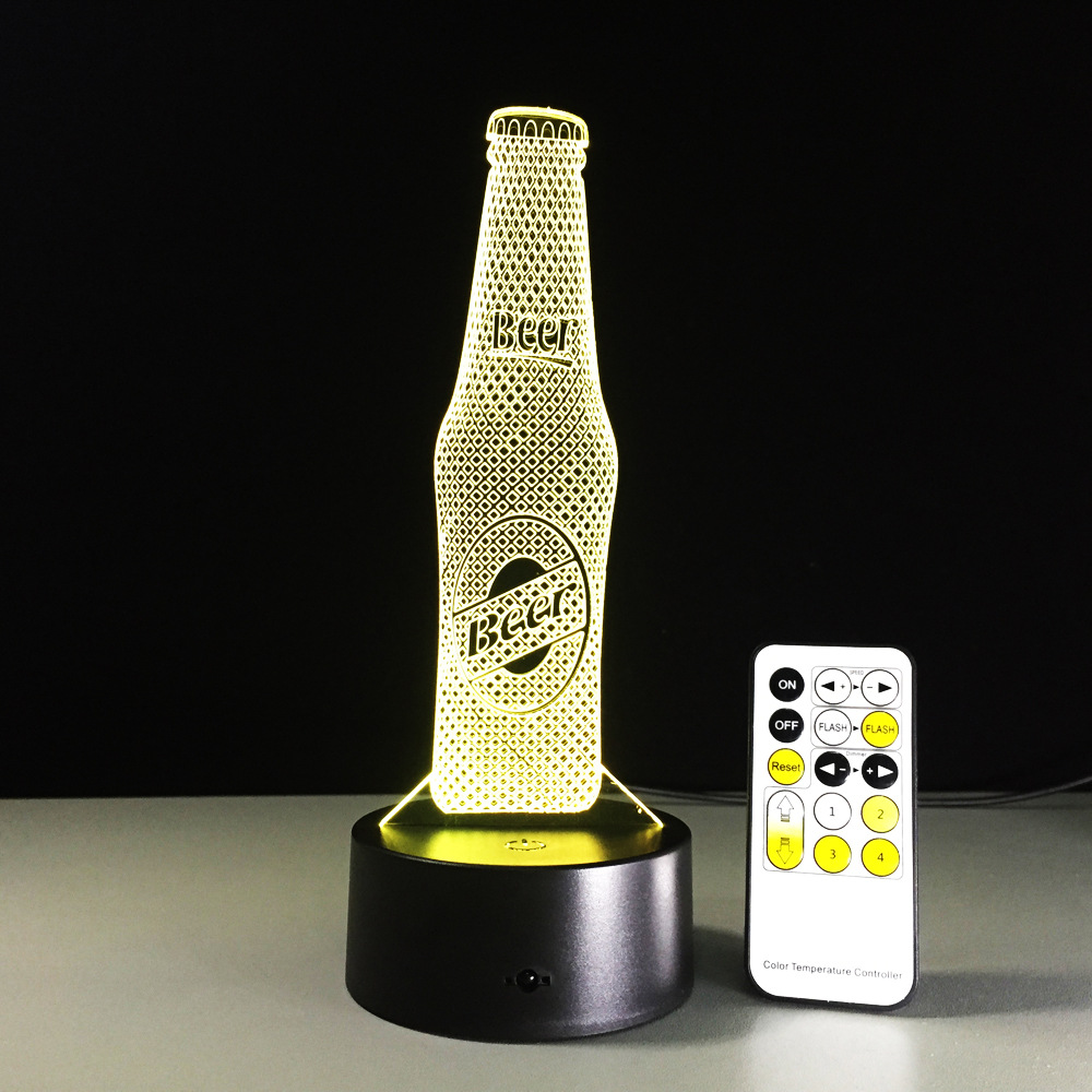 Beer Bottle Remote Control LED USB 3D Night Light 7 Colors Changing illusion Table Lamp Baby Sleeping Sensor light Drop Shipping