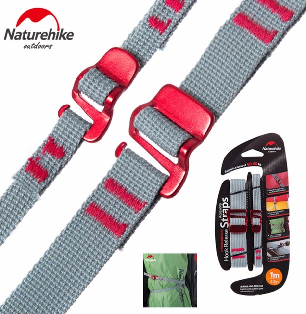 2pcs/set 1M 1.5M 2M NatureHike Strap Portable tent Hook Clip alloy buckle strap Travelling Luggage Straps Fixed Clip Fasteners