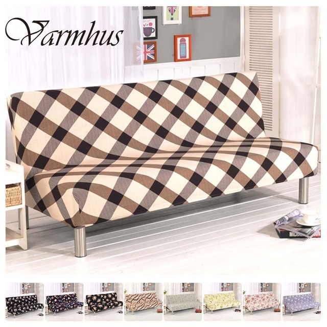 Varmhus Pattern Plush Folding Armless Sofa Futon Cover Furniture Seater Protect Couch Slipcovers Home Decoration Washable