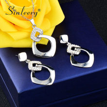 SINLEERY Sparkling Rhinestone Wedding Jewelry Sets Silver Color Hollow Geometric Earring Necklace Set For Women TZ235 SSH(China)