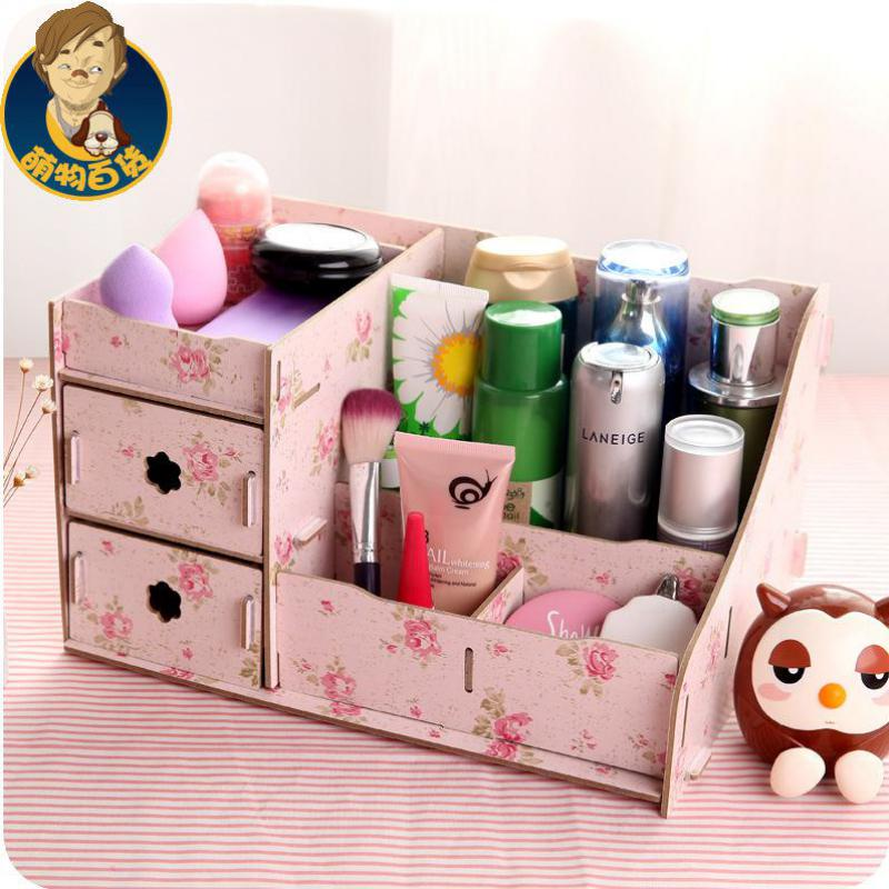 2017 New Diy Makeup Organizer Wooden Storage Box Multifunction Office Supplies Jewelry Red Pink Blue For Cosmetics In Bo Bins