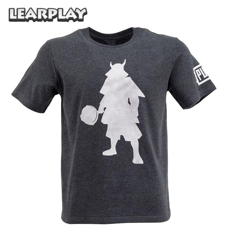 PUBG PLAYERUNKNOWN'S BATTLEGROUND Pan Samurai Warrior T-shirt Black Tee Shirt Cosplay Costume Short Sleeve tshirt Men Basic Tee