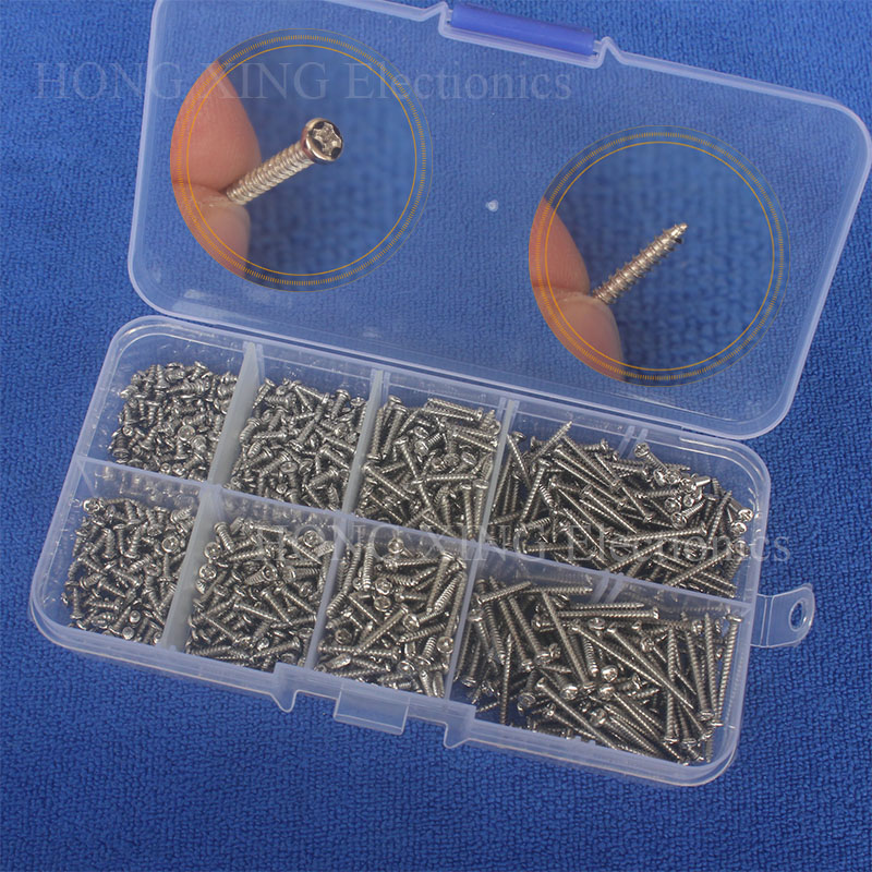 800pcs M2(2mm) Nickel Plated Carbon Steel Phillips Pan Head Self Tapping Screws Assortment Kit M2*4/5/6/8/10/12/16/20mm