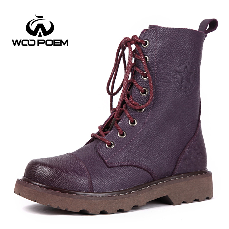 WooPoem Brand 2017 Winter Shoes Woman Genuine Leather Boots Comfort Low Flat Heel Ankle Boots Classic Retro Women Boots 566-1 woopoem brand winter shoes woman genuine leather boots low flat heel ankle boots rivet motorcycle boots retro women boots 510 l1