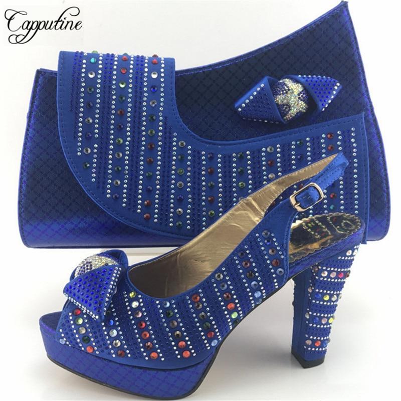 Sac Taille 38 Talons Nouvelle rouge Chaussures Hauts or 42 Nigérian Femme Bleu Ensemble Capputine Strass Me7716 vert Et Africain Arrivée Pompes 0dPqO6x