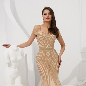 Image 5 - אירוסין ערב שמלות אלגנטי מפלגה חרוזים ריינסטון רוז זהב בת ים קצר שרוולים ספגטי רצועה ארוך נשף שמלה פורמלית