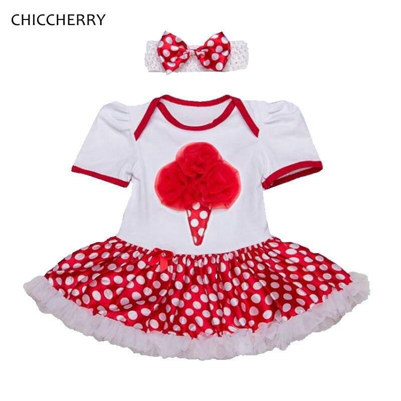 Summer 2018 Ice Cream Polka Dots Red Girls Dress with Headband Baby Girl Clothes Robe Bebe Fille Jurken Newborn Infant Clothing