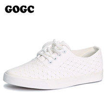 GOGC 2017 Breathable Leather Women Shoes Summer Women Causal Shoes with Hole Comfortable Sneakers Women Brand Flat Shoes Female