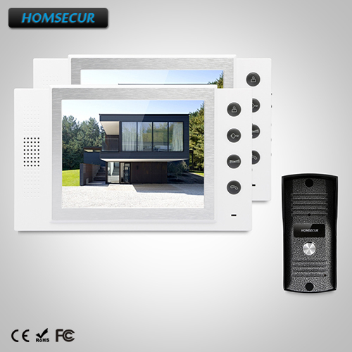 HOMSECUR 8 Wired Video&Audio Home Intercom+One Button Unlock for House/Flat TC031 + TM801-W