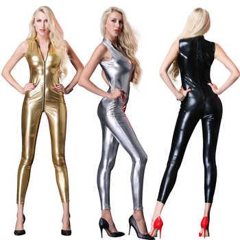 2019 New Sexy Sleeveless Long Catsuit Bodysuit latex lingerie babydoll Erotic underwear Faux Leather Zipper Women Jumpsuit