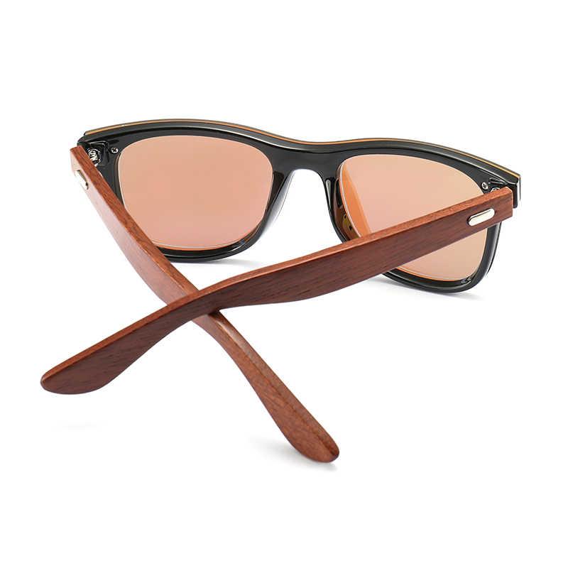 FENCHII สีดำแว่นตากันแดดไม้ผู้ชายผู้หญิง 2019 กระจกเลนส์แว่นตาออกแบบแบรนด์ Handmade Zonnebril Dames zonnebril heren