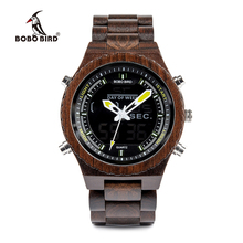 Buy BOBO BIRD V-P02 Watches Men High quality Wood Digital Night Vision Male Wristwatch with Week Display Stop Watch