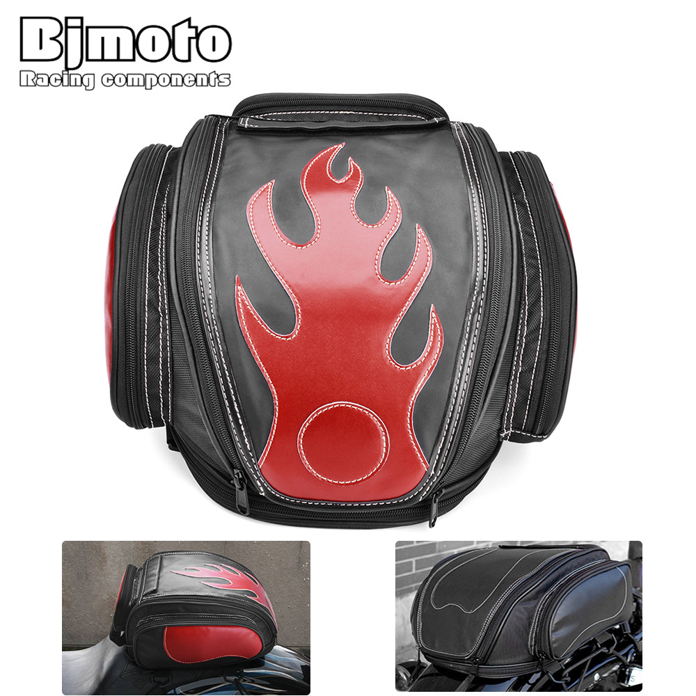 Bjmoto Motorcycle Scooter Backpack Expandable Helmet Bag Saddle Luggage Tail Bag Saddlebags Helmet Moto Side bag 3colors bjmoto universal motorcycle luggage bag saddle bags motorbike racing backpack helmet tank bag travel tail bag black with red