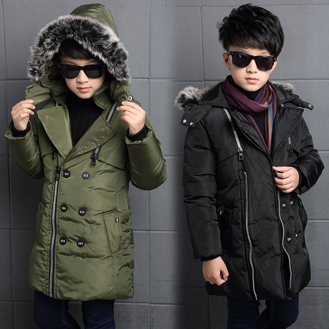 2017 Boys Winter Jackets Cotton Down Coat Boys Long Parkas Children Warm Hooded Outerwear & Coats Down Jacket 6 8 10 12 14 Years