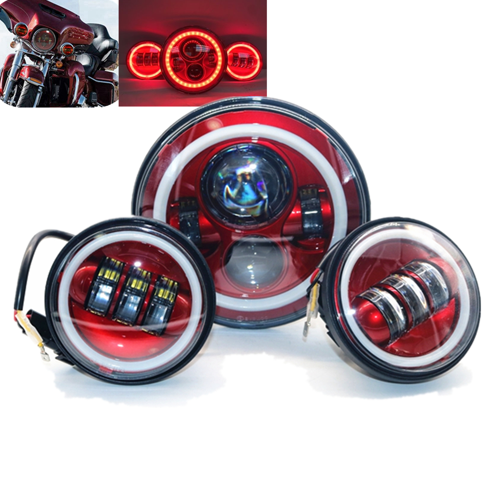 Red 7inch LED Headlight White/Red DRL With Halo 4.5 Inch Fog Passing Lights Set Motorcycle Accessories