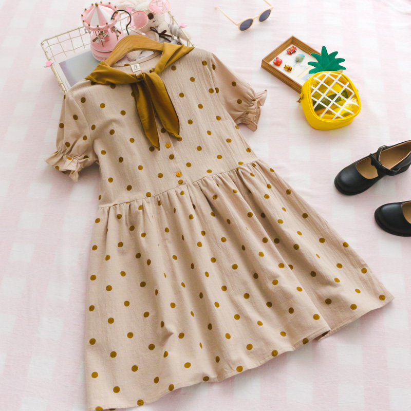 summer new College style sweet Dot Navy collar Bow Simple Loose Short sleeve dress woman
