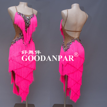 GOODANPAR Sexy Women Latin Dance Competition Dress with bodysuit bra cup Mesh Ly