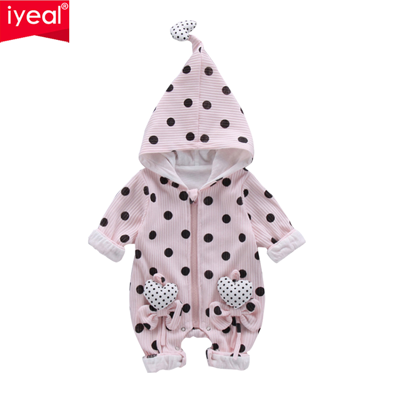 IYEAL New Fashion Baby Romper Infant Clothing Baby Girl Clothes Cute Hooded Polka Dot Bow Autumn Winter Jumpsuit Costume new fashion autumn winter girl dress polka dot