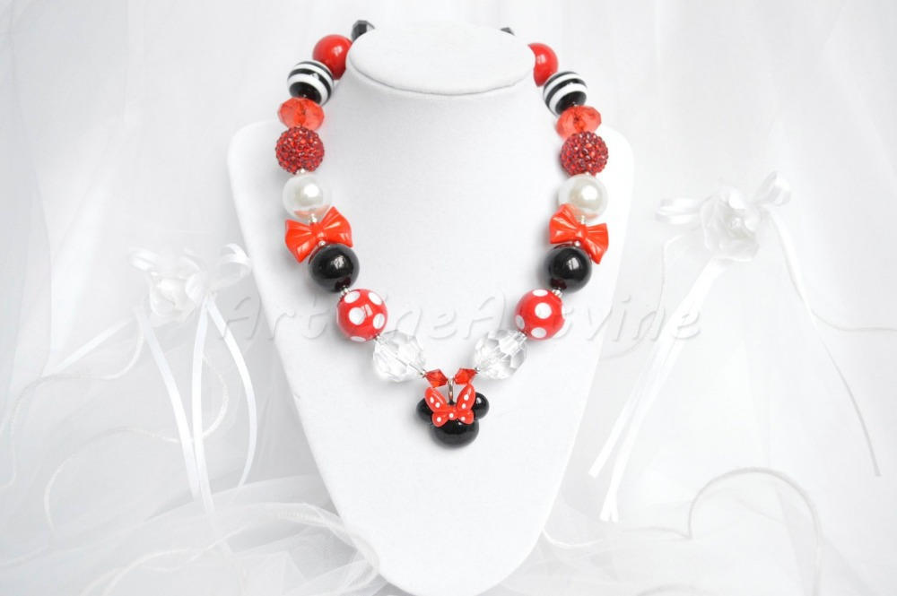 red black minnie mouse necklace chunky necklace bubblegum