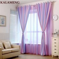 Modern Strip Pink Purple Jacquard Girl Room Curtains Home Decor Tulle Curtains For Living Room Bedroom Sheer Voile Drape WB0351