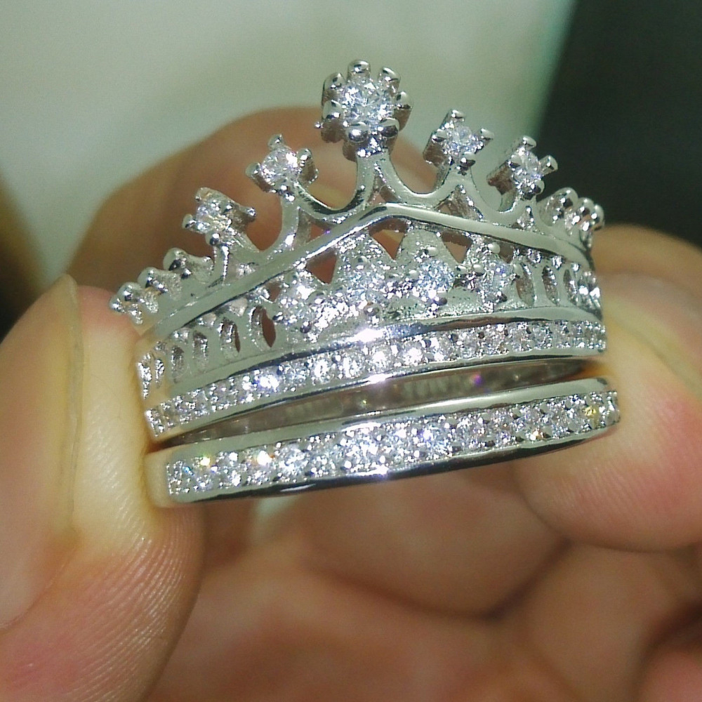 hail queen crown shaped diamond engagement ring crown wedding rings