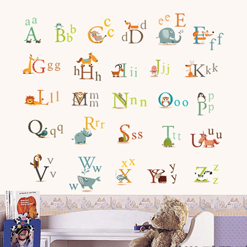 Animal Characters English Letters Wall Sticker Nursery Kids Room Decoration Wall  Decals Alphabet Children Birthday Gift In Wall Stickers From Home U0026 Garden  ...