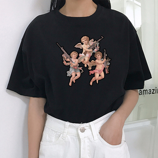 Você não quer estar perto de meu anjo impressão personalidade Harajuku moda casual O-pescoço das mulheres das mulheres do verão t-shirt tops de