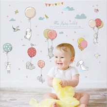 1PCS Cute Rabbit Play Balloon Wall Stickers Animal  Mural Art For Kids Girls Room Decor Home Decoration DIY Wallpaper 50*70CM