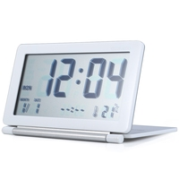 LCD Display Travel Desk Alarm   Clock   Time Calendar Thermometer Snooze Function   Clock