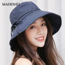 Hats Bucket-Hat Sun-Cap Beach-Bow Panama Anti-Uv Female Summer Woman Lady New Cotton